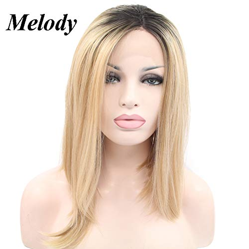 - Melody Blonde Ombre Lace Front Wig With Dark Roots Mixed 2tone Short Bob Brown Gold Synthetic Lace Front Wigs For Women Hairstyle Heat Resistant Fiber Hair 14 Inch