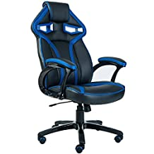 ViscoLogic Series APOLLO Gaming Racing Style Height Adjustable 360 Swivel Leatherette Upholstered Thick Padded Home Office Chair (Black Blue)