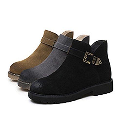 Black Damen Damen 35 Stiefeletten Flache Freizeit Schuhe Neue Größe Große Retro Reißverschluss Modische 40 Ogdq55AwB