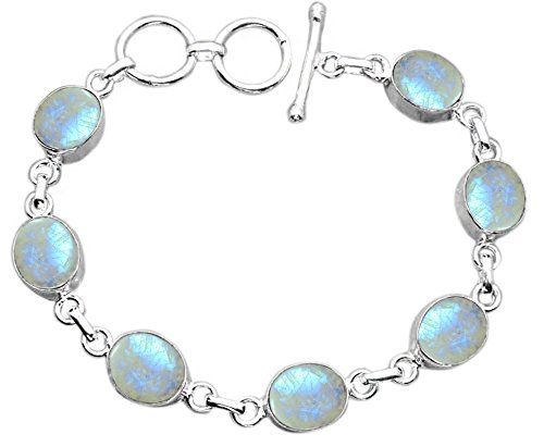 Genuine Rainbow Moonstone 925 Sterling Silver Overlay Handmade Fashion Bracelet Jewelry