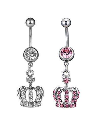 CEYIYA Personalized Belly Button Rings Set - Surgical Steel Navel Rings Ideal Gift for Women/Men/Girls,Fashion Belly Piercing - Ring Crown Belly