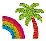 Bulk Roll Prismatic Stickers, Palm Tree / Rainbow (100 Repeats)