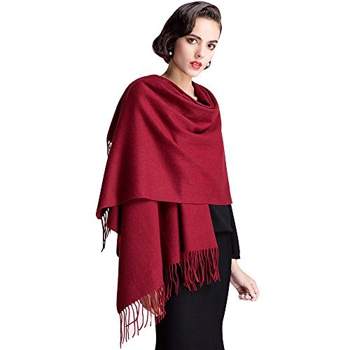 CULAYII: Valentine's Day Gift Soft Cashmere Scarf,Large Warm Scarf Shawls Wrap for Women Men Gift-Wine red  L