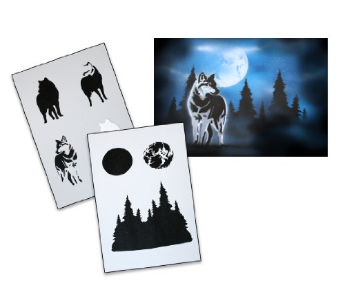 UMR-Design AS-094 Wolf Airbrush Stencil Template Step Step Size XL by UMR-Design (Image #1)