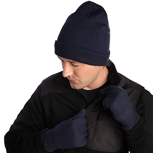 d4519e6bdab DG Hill Mens Winter Hat And Gloves Set with 3M Thinsulate fleece lining
