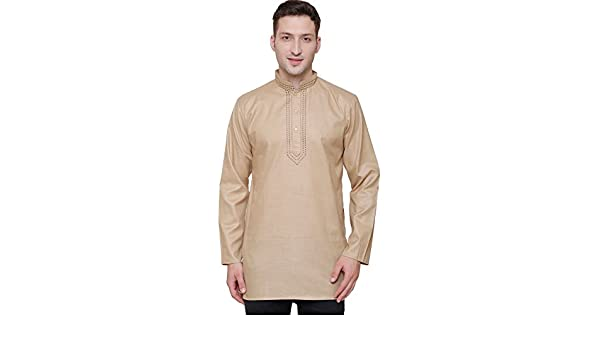 MapleClothing Arce Ropa India Ropa Fashion Camiseta Bordado para Hombre Corto Kurta algodón India Vestido - Marrón -: Amazon.es: Ropa y accesorios