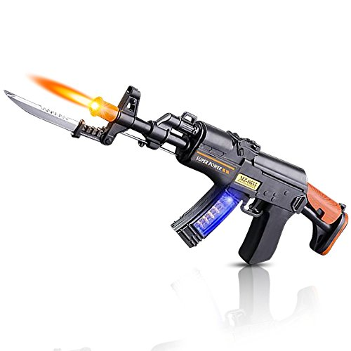ArtCreativity Light Up Toy Machine Gun with Folding Bayonet, Cool LED, Sound and Vibration Effects, 16