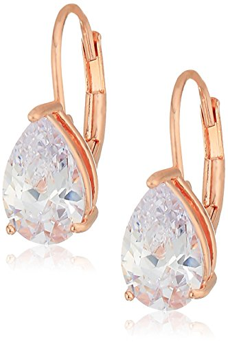 14k Rose Gold Plated Sterling Silver Pear Cut Cubic Zirconia Leverback Earrings (Plated Gold Earrings Pear)