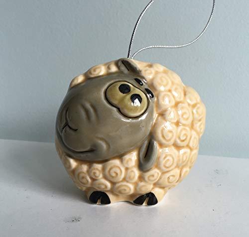 Chinese horoscope Sheep porcelain figurine Christmas tree toy, handmade