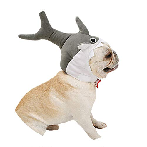 3D Halloween Dog Pet Cat Shark Party Costume Outfits for Small Medium Dog Winter Warm Fleece Dog Hat Funny Cap,Gray,M -