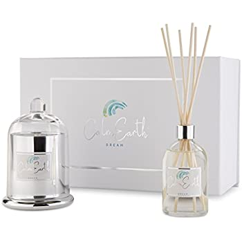 Aromatherapy Candle and Reed Diffuser Set Dream by Calm Earth | Candle Gift Set | Soy Scented Candle and Reed Diffuser Oil With Wood Sticks | Natural Elegant Reed Diffusers For Your Home
