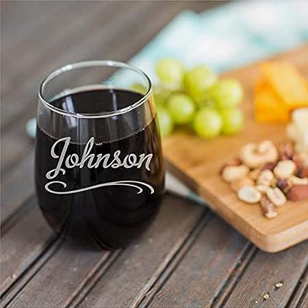 Copa de vino sin tallo, personalizada, divertida, de 15 onzas, con nombre personalizado, para vino tinto y blanco, regalos para hombres y mujeres