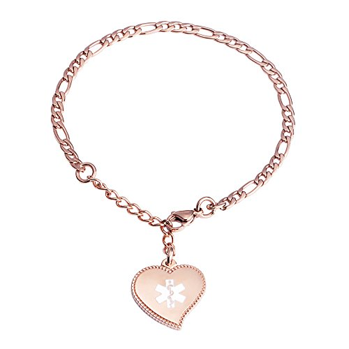 linnalove Free Custom Engraving Rose Gold Fashion Mini Figaro Chain with Heart Charm Medical id Bracelet for Women ()