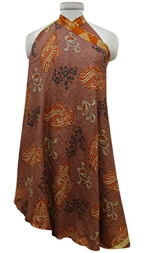 Indianbeautifulart Portefeuille Rouille amp; La vtements Brown d't Robe Femmes Orange Saree rversible qr1qwU6F