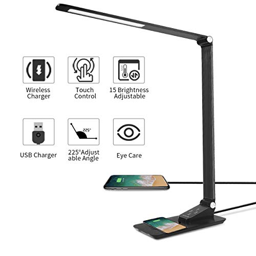 Led Desk Lamp Wireless Charging,Eye-caring Foldable Table Lamp,Dimmable Metal Office Lamp with USB...