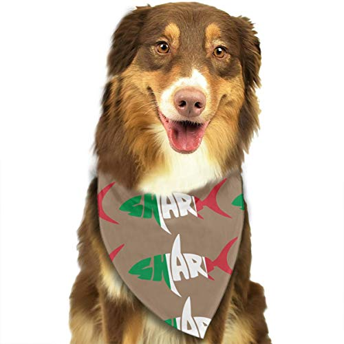 - CWWJQ88 Italian Flag Shark Letter Pet Dog Bandana Triangle Bibs Scarf - Easy to Tie On Your Dogs & Cats Pets Animals - Comfortable and Stylish Pet Accessories