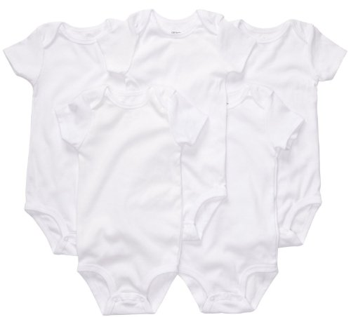 Carter's Baby White 5 Pack Bodysuits, Sleeves, 3 Months