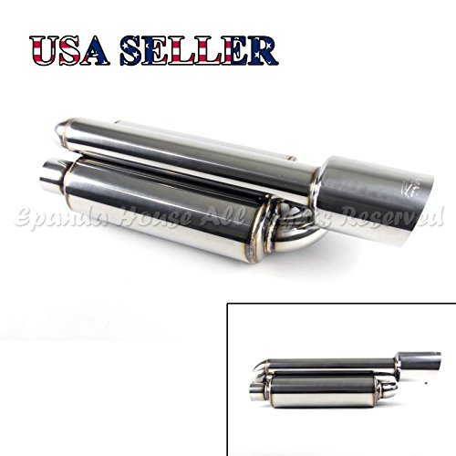 [1X Twin Canister Style Deep Tone Track Straight Backend Exhaust Muffler+ 4