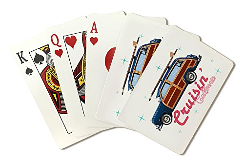 Cruisin' California - Retro Woody and Surfboard (Playing Card Deck - 52 Card Poker Size with Jokers) by Lantern Press