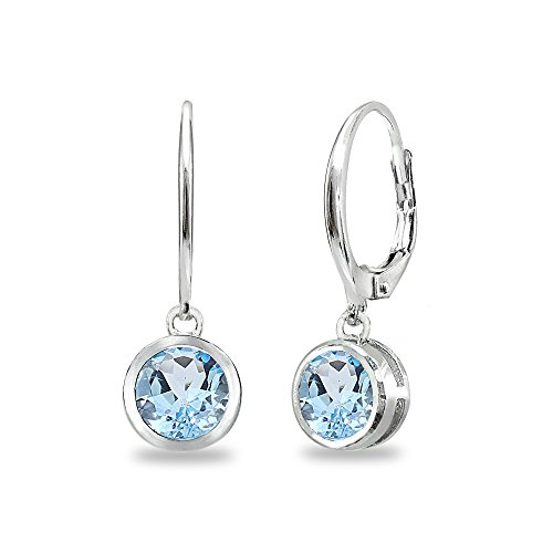 - Sterling Silver Blue Topaz 6mm Round Bezel-Set Dangle Leverback Earrings