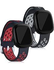 kwmobile 2x armband compatibel met Fitbit Versa 3 / Sense - Bandjes voor fitnesstracker in zwart/rood/zwart/grijs