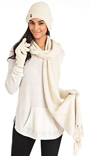 Aegean Apparel Women's Marshmallow Sparkle Winter Hat, Scarf & Gloves Gift Set (One Size, - Hats Aegean