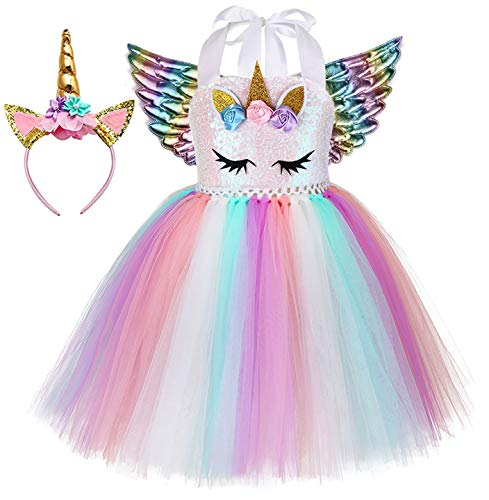 Tween Rainbow Unicorn Halloween Costumes - Tutu Dreams Girls Unicorn Dress with