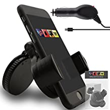 IWIO Alcatel Flash Plus 2 Phone Universal 360 Degrees Rotating Suction Mount Car Holder with 12/24v 1000mAh In Car Charger