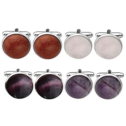 Cufflinks Round Crystal (4 Pairs Natural Crystal Round Cufflinks Set for Men Amethyst Rose Quartz Purple Cat Eyes Goldstone Luxury Elegant Tuxedo Shirts Formal Dress Business Wedding Party Prom Gift)