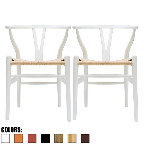 2 Open Back Chairs - 2xhome Set of 2 White Wishbone Wood Armchair with Arms Open Y Back Open Mid Century Modern Contemporary Office Chair Dining Chairs Woven Seat Brown Living Desk Office