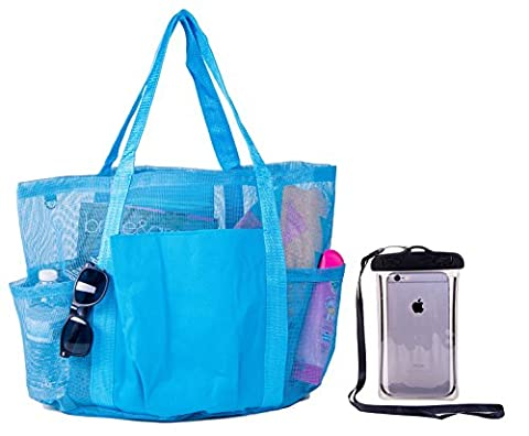 Super Large Family Mesh Beach Tote Bag w/ Waterproof Phone Case (Turquoise Blue) - Apple Coral Handle