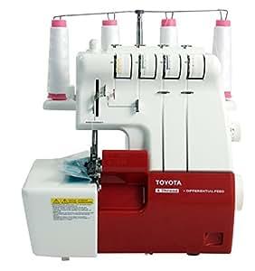 Toyota SLR4D - Máquina de coser overlock, velocidad de costura 1500 rpm, color rojo/blanco