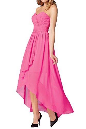 Lang Chiffon Braut linie Abendkleider Abschlussballkleider Pink Partykleider mia Hi Elegant Herzausschnitt A lo La qa74Atw4
