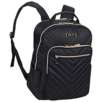 """Kenneth Cole REACTION Women's Chevron Quilted Polyester Twill 15.6"""" Laptop Backpack, Black (black) - 5713215"""
