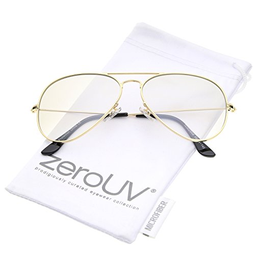 zeroUV - Retro Small Double Nose Bridge Slim Temple Clear Lens Aviator Eyeglasses 57mm (Gold / - Aviator Small