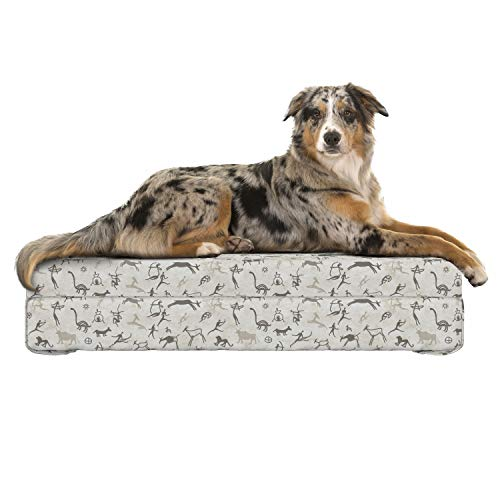 (Lunarable Tribal Dog Bed, Prehistoric Rock Paintings with Ethnic Inspirations Animals and Hunters, Dog Pillow with High Resilience Visco Foam for Pets, 32