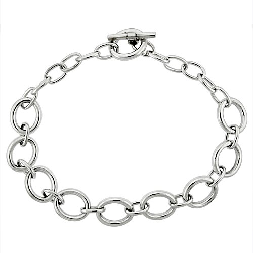 Sterling Silver Alternating Big and Small Oval Links Hollow Toggle Necklace, 20 inches long (Link Small Necklace Oval)