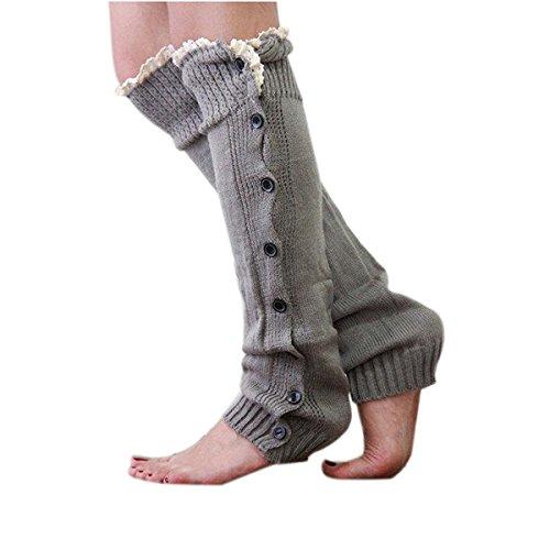 WINOMO Lady Leg Warmers sokken trim knie hoog breien knop crochet kant sokken 1 paar