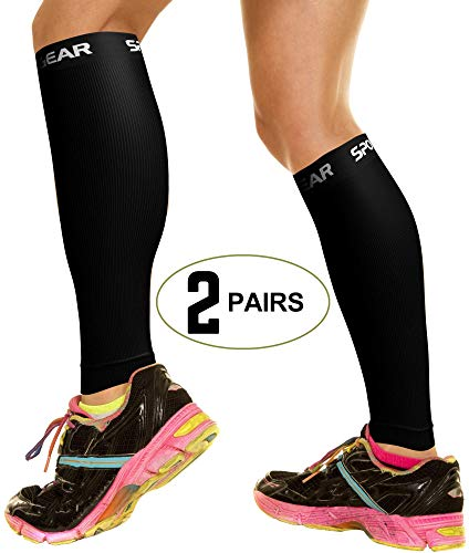 2 PAIRS Calf Compression Sleeve for Men & Women, Best Footless Socks for Shin Splints & Leg Cramps, Calves Circulation Remedy, Support Stockings, Running, Basketball Lycra Tights - ALL BLACK L/XL ()