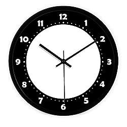 Ysayc Wall Clock Black and White abstract avant-Garde Creative Fashion Wall Clock Modern Minimalist Living Room Bedroom ultra-Mute Wall Clock , 14 inches , metal black box