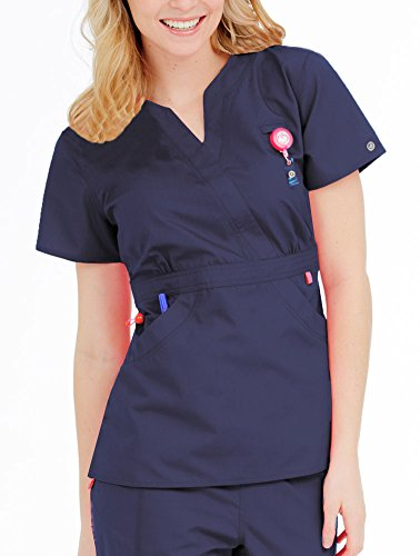 Ladies' Solid Mock Wrap Scrub Top