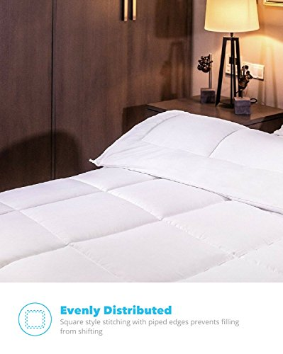 Equinox All Season White Quilted Comforter Goose off answer Queen Comforter Duvet Insert Set unit Washable Hypoallergenic Plush Microfiber Fill 350 GSM
