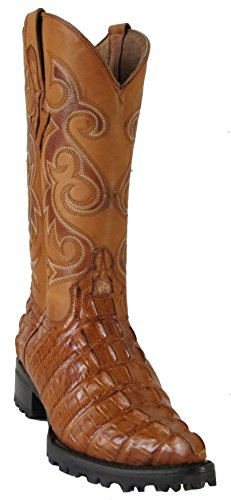 Hand Made Men's New Crocodile Alligator Tail Design Biker Cowboy Western Boots J-Toe Cognac (14 D(M) US)