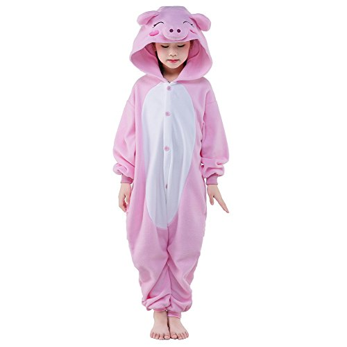 NEWCOSPLAY Unisex Children Pink Pig Pyjamas Halloween Costume (5-Height 47-49