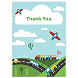 Kids Thank You Cards - Planes, Trains and Automobiles - Pack of 10