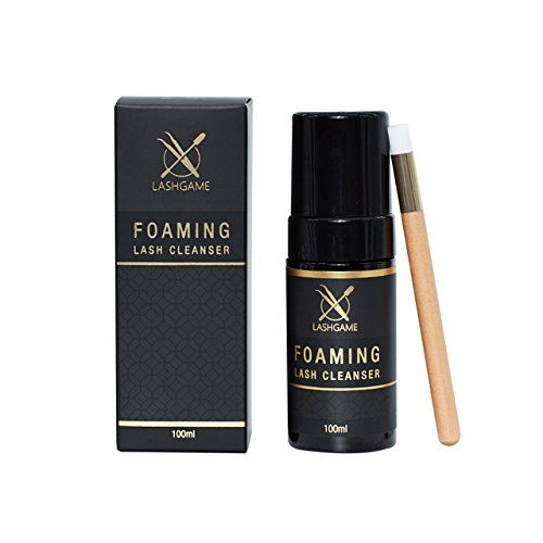 LASHGAME - Eyelash Extension Foaming Cleanser with Cleansing Eyelash Brush   Available in Single and Wholesale Pack   Safe and Gentle Formula for Cleaning Dirt & Oil from Eyelash Extensions