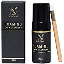 LASHGAME Eyelash Foaming Lash Extension Cleanser with Cleansing Brush - Everyday Use Gentle Formula for Cleaning Dirt, Oil, Makeup Residue - Single, 100ml