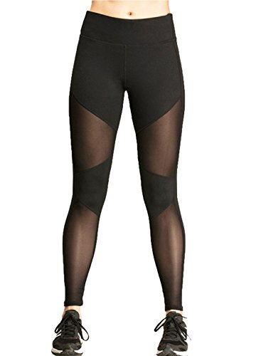 Tulucky Women's Mesh Patchwork Stretchy Workout Leggings Fitness Yoga Pants (M, black)