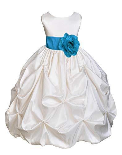 Ivory Satin Taffeta Pick-Up Bubble Flower Girl Dresses Holy Communion Dress Baptism Dresses 301S 2