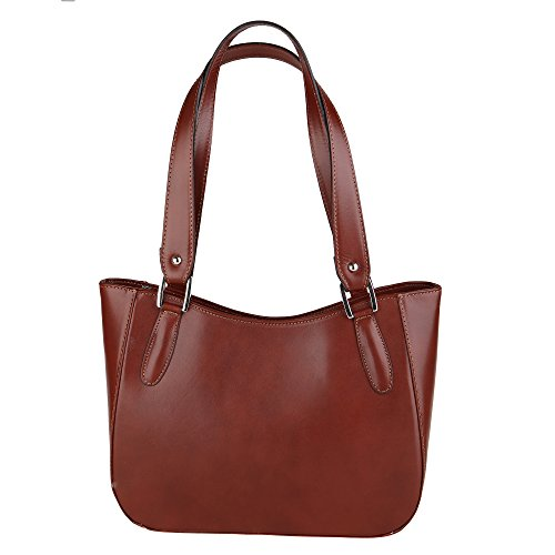 In Donna Cm Vera A Italy Spalla Da Made 34x23x10 Pelle Chicca Bag Borsa Marrone Shoulder Borse xwAw6q8a